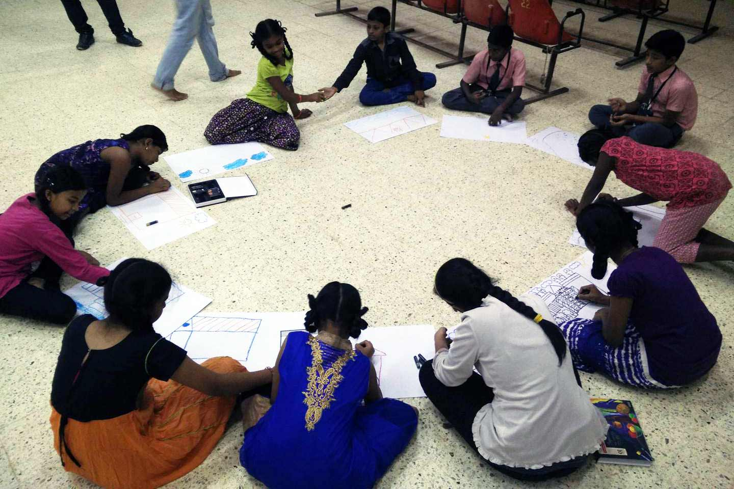 Art therapy workshop for the students of RBANMS school, Bangalore